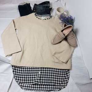 Wool blend sweater with layered buffalo check Iook